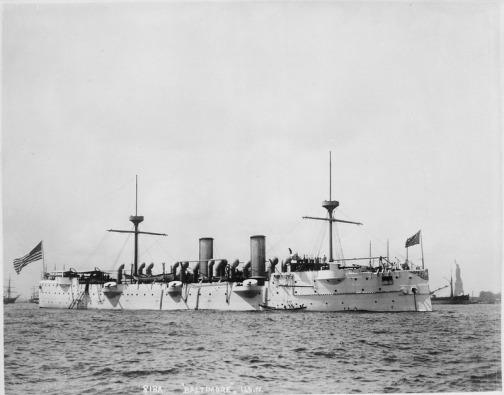 Baltimore_(Cruiser_3)._Starboard_bow,_1891_-_NARA_-_512896.tif