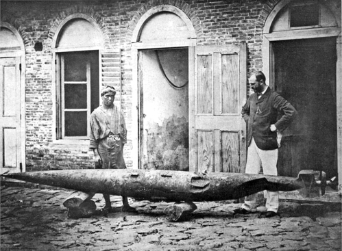 Robert_Whitehead_with_battered_test_torpedo_Fiume_c1875