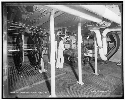 U.S.S._Massachusetts,_steam_steering_gear
